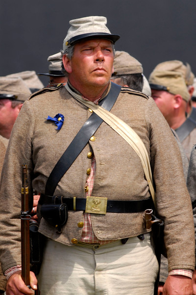 Reenactor Private Ron McNeil stands at attention after an infantry demonstration at Ft. Moultrie in Sullivan's Island, South Carolina on Monday, April 11, 2011. ..The 150th Anniversary of the Firing on Ft. Sumter was commemorated with lectures, performances, demonstrations, and a living history throughout the area on James Island, Charleston, Mt. Pleasant, and Sullivan's Island during the week from April 8-14, 2011. Photo Copyright 2011 Jason Barnette