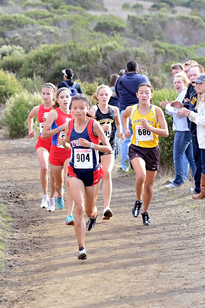 St. Ignatius was starting to look scary at the finish line as they got their 2-3-4 girls in after Melissa. But then, with her solid finish that I've come to expect, it was Emily Schneider, a bit of a Phoenix in her own right, having arisen from her own ashes of last year's injury-plagued season.