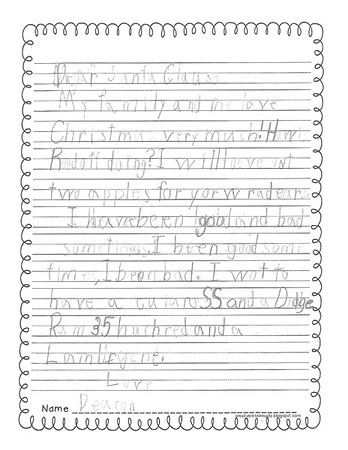 Mrs. Perez' first grade Letters to Santa, 12/9/2016