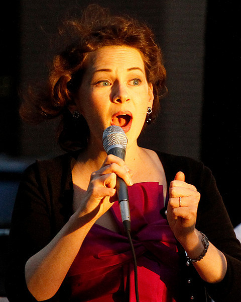 09/04/2010  Vocalist caught in the evening light is Joan Ellison a graduate of Oberlin Conservatory of Music. Photo by Tom Mahl