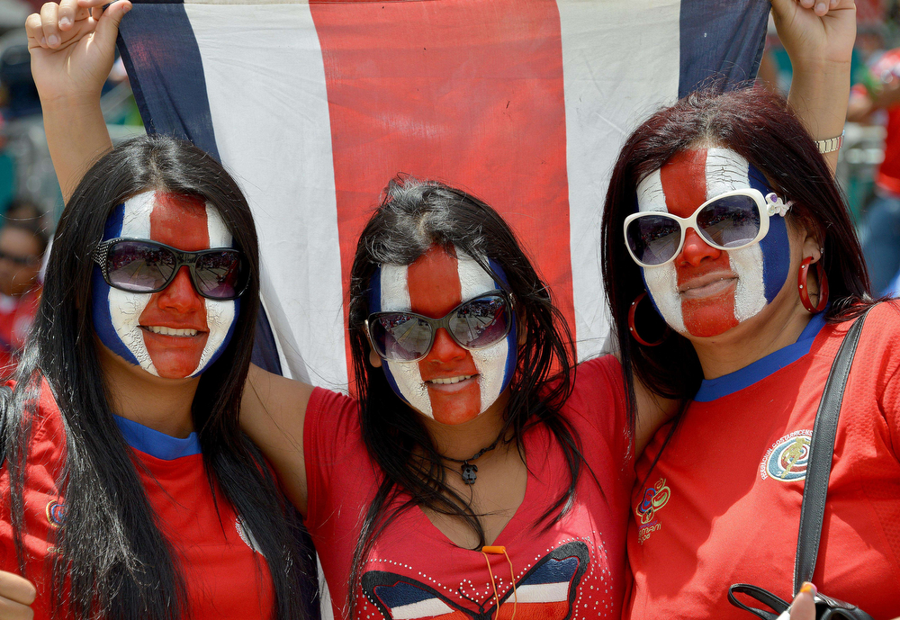 . Costa Rican fans in San Jose on July 0, 2014 await for the start of the Holland vs Costa Rica match of the Brazil 2014 FIFA World Cup football. (EZEQUIEL BECERRA/AFP/Getty Images)