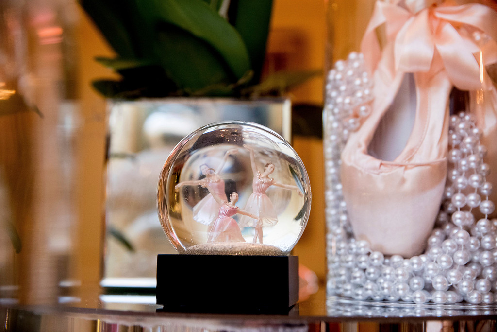 . A ballerina themed snow globe is displayed in the Vermeil Room of the White House during a preview of the 2016 holiday decor, Tuesday, Nov. 29, 2016, in Washington. (AP Photo/Andrew Harnik)