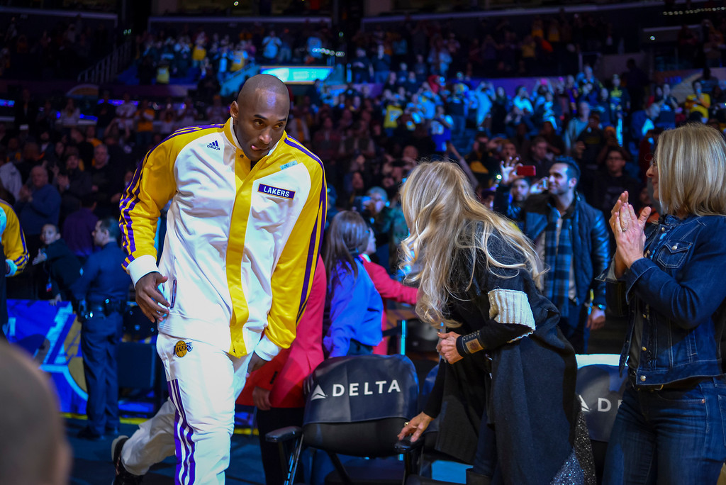 . Lakers� Kobe Bryant takes the court for the first time this season at Staples Center Sunday, December 8, 2013.   ( Photo by David Crane/Los Angeles Daily News )
