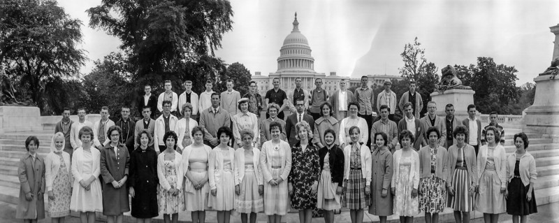 """Senior Trip, May 1963.   Can you name all 47 students and 4 chaperones and the 17 students who weren't able to make the trip?  Leave you answer in the comments (over there at the bottom left where it says """"Add Comment"""")"""