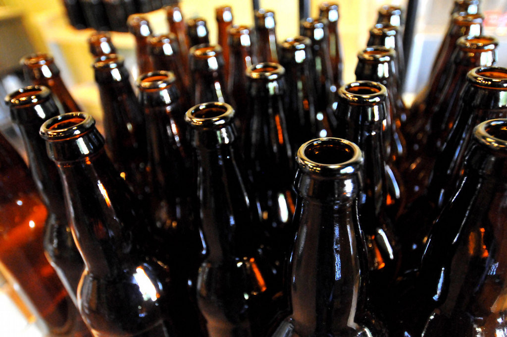 . Sterilized beer bottles are ready to be filled with brew and capped at Vine Park Brewery. (Pioneer Press: John Doman)