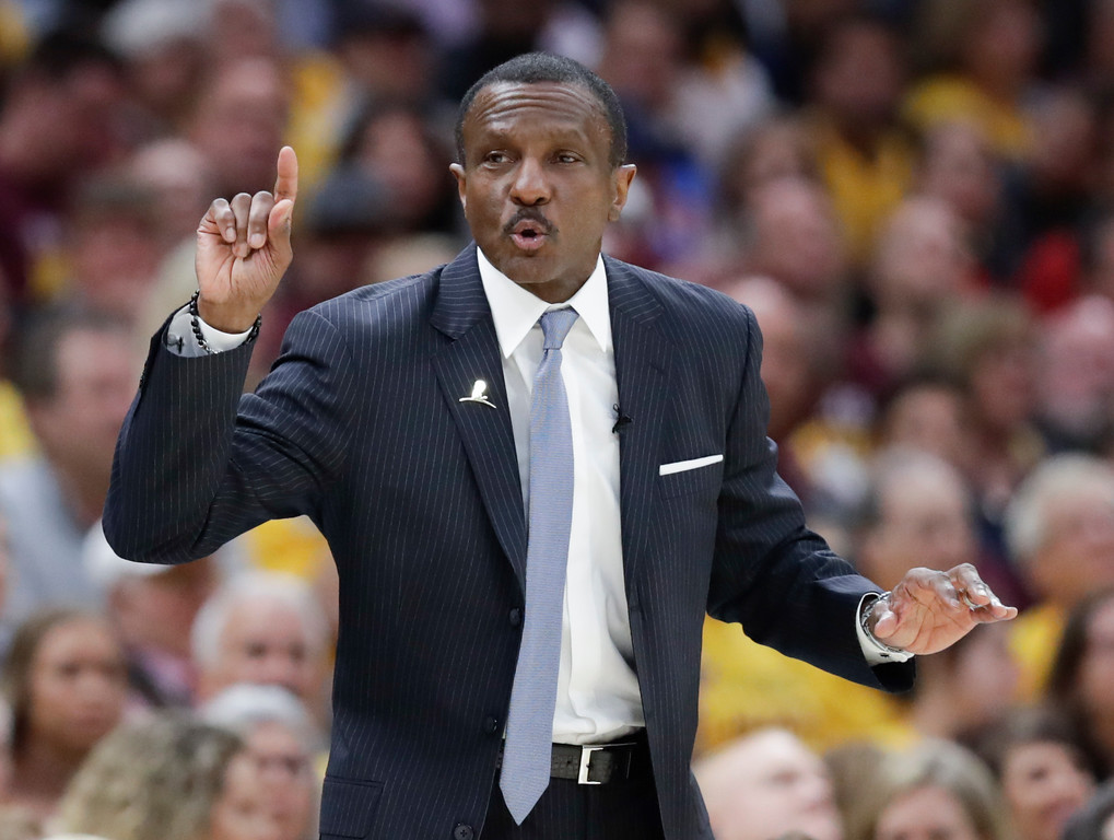 . Toronto Raptors head coach Dwane Casey gestures against the Cleveland Cavaliers in the first half of Game 4 of an NBA basketball second-round playoff series, Monday, May 7, 2018, in Cleveland. (AP Photo/Tony Dejak)