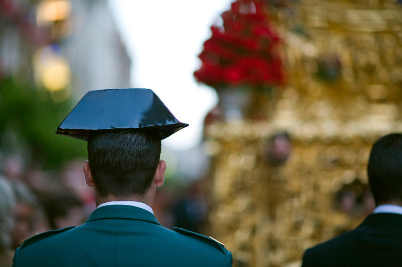 Civil Guard escorting a Holy Week float, Seville, Spain