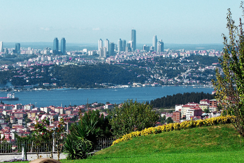 49-Europe and the Bosphorus from Çamlica Hill (elevation 263m) in Asia.