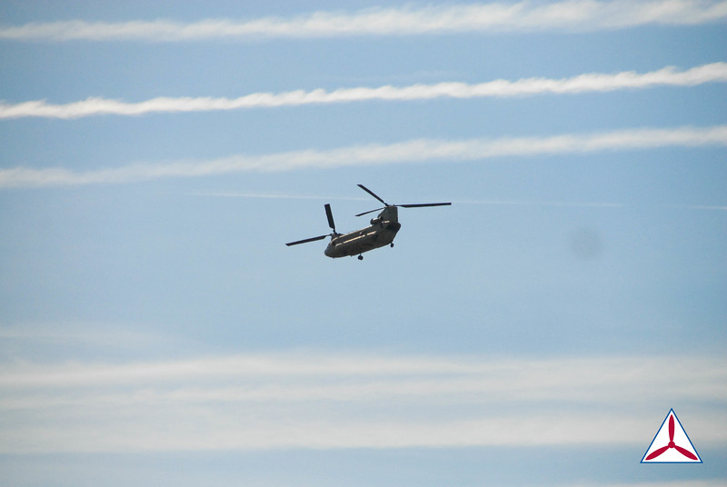 A CH-47 Chinook flying over cantonement area. Photo Credit: C/2d Lt. Morgan Balsley, GA116