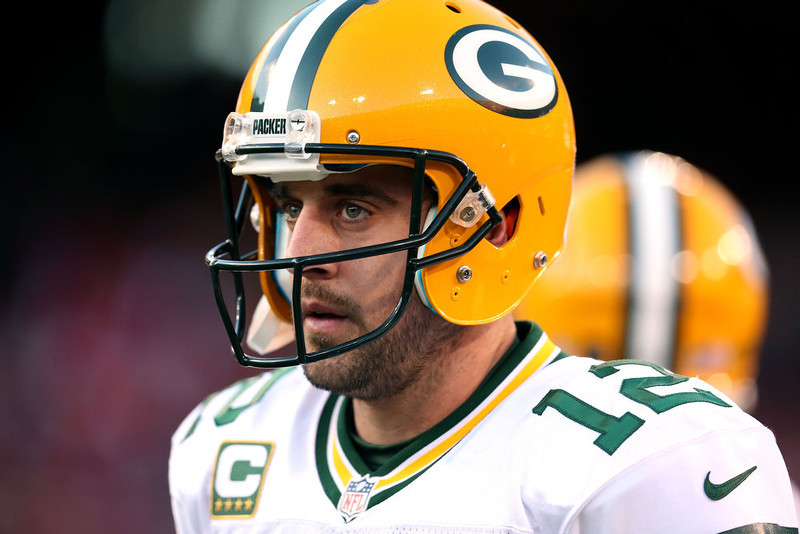. Quarterback Aaron Rodgers #12 of the Green Bay Packers looks on during warm ups prior to the NFC Divisional Playoff Game against the San Francisco 49ers at Candlestick Park on January 12, 2013 in San Francisco, California.  (Photo by Stephen Dunn/Getty Images)