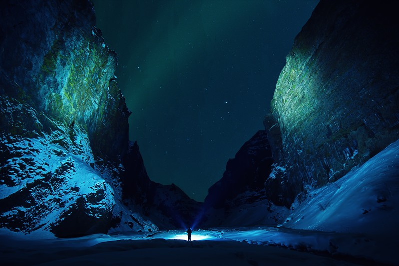 northern lights in iceland - inside canyon