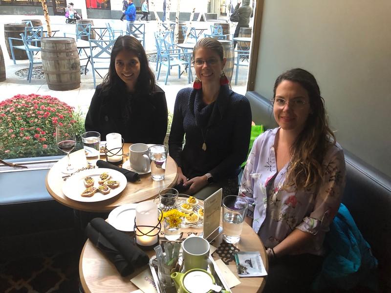 SWE-SD social at WE18:  Supriya Thote (PD Chair), Sara Wheeland (Nominations Chair), Charlotte Fitzgerald (ME Chair)