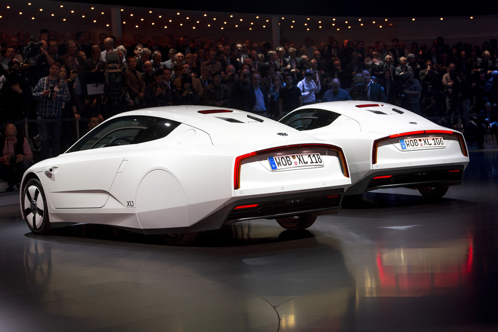. Two new Volkswagen hybrid XL1 model cars are displayed during a preview of Volkswagen Group on March 4, 2013 ahead of the Geneva Car Show in Geneva.  FABRICE COFFRINI/AFP/Getty Images