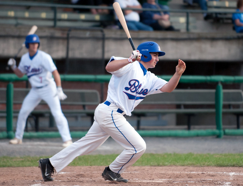 06/12/18  Wesley Bunnell | Staff  The Bristol Blues vs the Worcester Bravehearts at Muzzy Filed on Tuesday night. Dylan Reynolds (35).