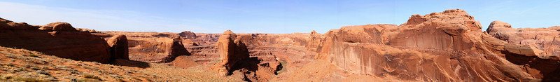 It's hard to completely capture the grandeur of the place.  This view shows a bit of the Escalante River and the path that we took down (to the left) to Coyote Gulch.