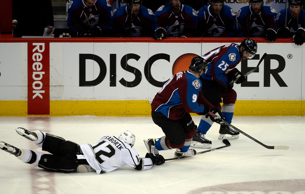 . DENVER, CO - FEBRUARY 18: Los Angeles Kings right wing Marian Gaborik (12) appears to trip Colorado Avalanche center Matt Duchene (9) during a break away in the second period February 18, 2015 at Pepsi Center. Colorado Avalanche head coach Patrick Roy argued with the referee during a timeout. (Photo By John Leyba/The Denver Post)