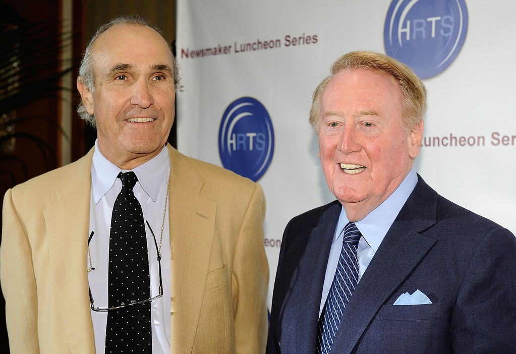 . BEVERLY HILLS, CA - NOVEMBER 10:  Director Ron Shelton (L) and Voice of the Los Angeles Dodgers Vin Scully attend the Hollywood Radio & Television Society Newsmaker Lunheon at the Beverly Wilshire Hotel  on November 10, 2009 in Beverly Hills, California.  (Photo by Michael Buckner/Getty Images)