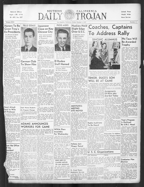 Daily Trojan, Vol. 29, No. 11, October 01, 1937