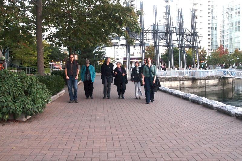 Walk along False Creek seawall beside Yaletown with Jordan, Evelyn, Stina, Laura Leah, Vanessa, Regan, Jacquie.