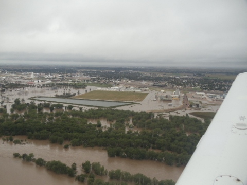 Description of . Flooding along the South Platte in northeast Colorado Monday, Sept. 16, 2013, courtesy of Mike Benson,