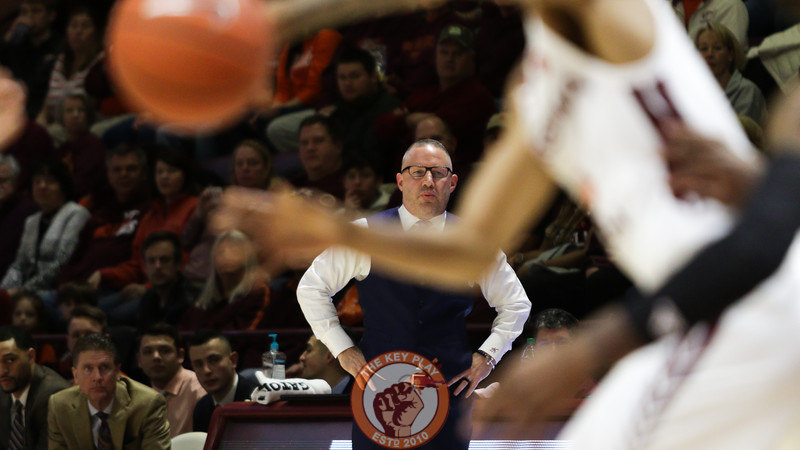 Head coach Buzz Williams watches the action in the first half. (Mark Umansky/TheKeyPlay.com)