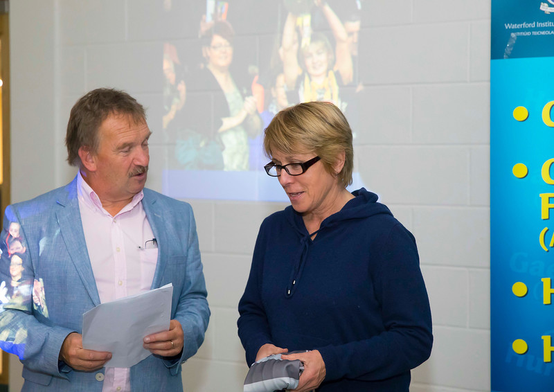 WIT holds event to honour 2016 All Ireland medal winning students. Pictured is Liam Spratt MC with member of the Management of the Kilkenny Senior Camogie team Ann Downey. Picture: Patrick Browne  Waterford Institute of Technology's presence and influence across Gaelic Games at a national level in 2016 has been very noticeable. In total there are 32 past and present WIT students on the respective playing panels that won All Ireland medals in 2016 and a further 4 members on the backroom management teams.   To honour this huge achievement, WIT GAA Club is paying tribute to these 36 past members on securing these prestigious national titles on Monday 3 October, 6.30pm at the WIT Arena.   Along with the players, the prestigious cups, including the All Ireland Senior Hurling Cup- Liam McCarthy, the All Ireland Senior Camogie Cup- O'Duffy, The All Ireland Minor Cup and the All Ireland Under 21 Hurling Cup- James Nowlan, will be on show on the night.