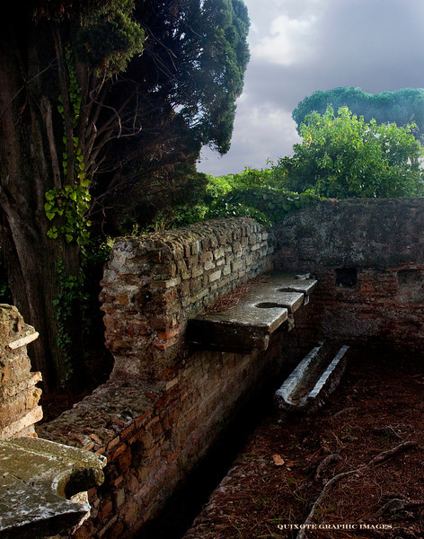 "Public latrine in Ostia Antica, the main Roman port city.  The narrow channel at your feet was for rinsing off the spongia or ""sponge on a stick"" that served as toilet paper, and the slot in front was so you could use it without standing up."