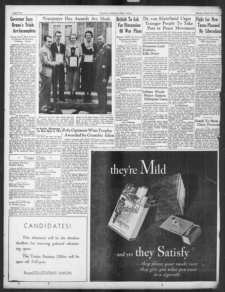 Daily Trojan, Vol. 27, No. 109, March 30, 1936