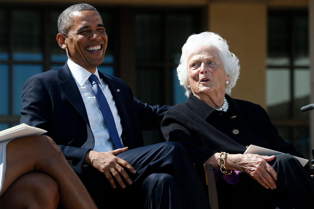 . President Barack Obama shares a laugh with former first lady Barbara Bush at the dedication of the George W. Bush presidential library on the campus of Southern Methodist University in Dallas, Thursday, April 25, 2013. (AP Photo/Charles Dharapak)