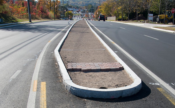 10/21/19 Wesley Bunnell | StaffrrCenter dividers were recently installed as part of the ongoing construction on Route 66 in Bristol.