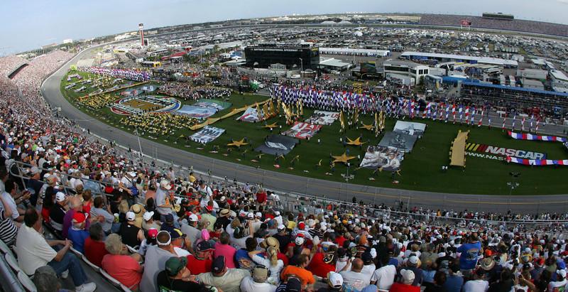 . Pre-race activities take place prior to NASCAR\'s Daytona 500 auto race at Daytona International Speedway in Daytona Beach, Fla., Sunday, Feb. 17, 2008. (AP Photo/David Graham)