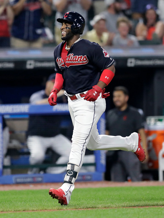 . Cleveland Indians\' Yandy Diaz runs the bases after hitting a solo home run off Kansas City Royals relief pitcher Jake Newberry during the fifth inning of a baseball game Tuesday, Sept. 4, 2018, in Cleveland. (AP Photo/Tony Dejak)