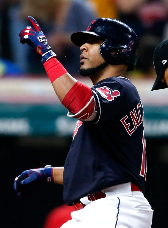 . Cleveland Indians\' Edwin Encarnacion celebrates after hitting a solo home run off Detroit Tigers starting pitcher Matthew Boyd during the sixth inning of a baseball game, Friday, Sept. 14, 2018, in Cleveland. (AP Photo/Ron Schwane)