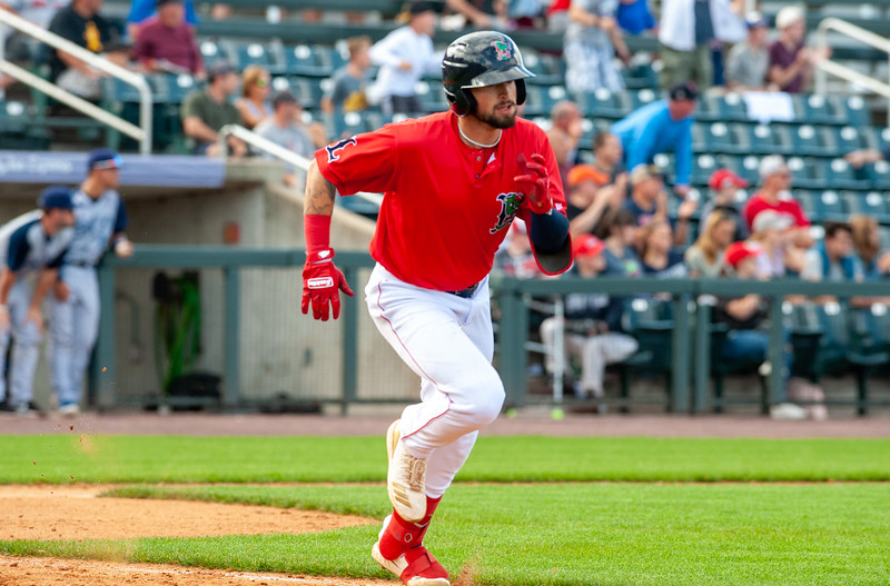 Nick Decker gets a hit in the bottom of the ninth during Game 1 of the New York-Penn League championship series between the Lowell Spinners and Brooklyn Cyclones on Sunday at LeLacheur Park in Lowell. (Lowell Sun / John Corneau)