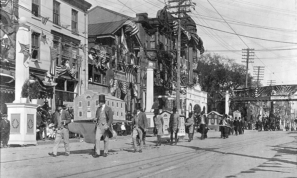 . This Times Herald file photo shows a parade on Main Street in Norristown in 1912. The parade was held in celebration of the municipality\'s centennial.