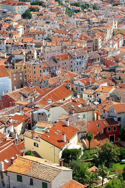 View of the tangle of cobbled streets and colorful rooftops from the tower of the Church of St. Euphemia - Rovinj