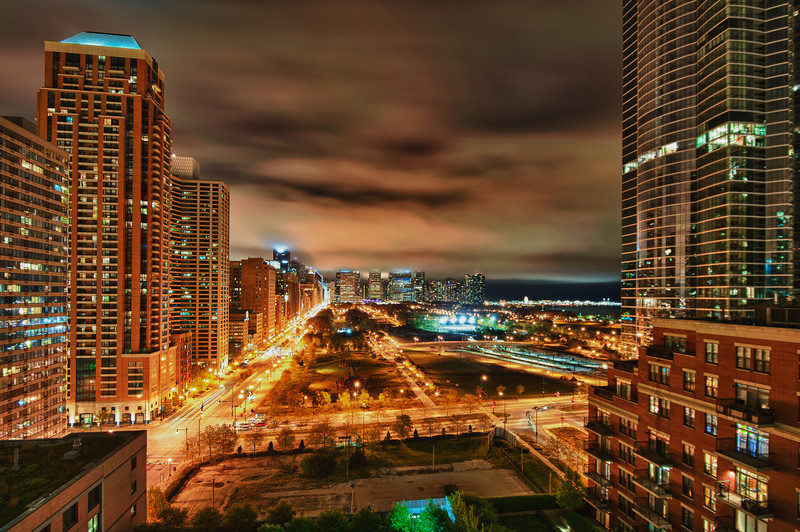 Grant Park at night from the South Loop