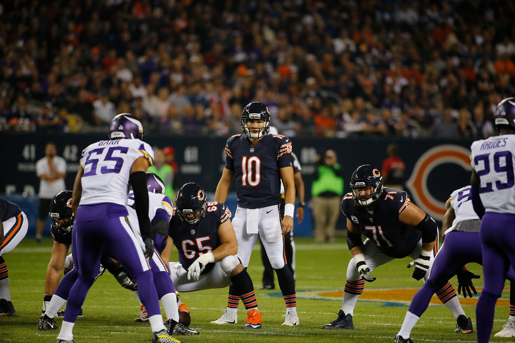 . Chicago Bears quarterback Mitchell Trubisky (10) prepares to call a play against the Minnesota Vikings during the first half of an NFL football game, Monday, Oct. 9, 2017, in Chicago. (AP Photo/Charles Rex Arbogast)