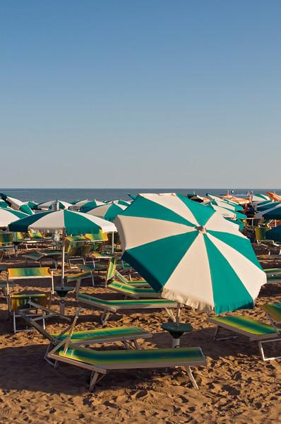 Empty Beach Umbrellas and Deckchairs, Spiaggia di Ponente, Caorle, Veneto, Italy