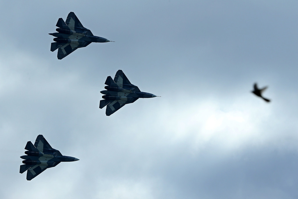 . Russia\'s stealth fighters T-50 perform during the MAKS-2013, the International Aviation and Space Show, in Zhukovsky, outside Moscow, on August 27, 2013. AFP PHOTO/KIRILL KUDRYAVTSEV/AFP/Getty Images