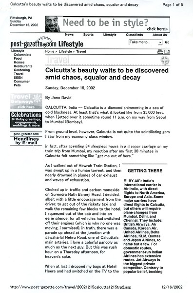Calcutta. Pittsburg Post-Gazette. Dec 15, 2002