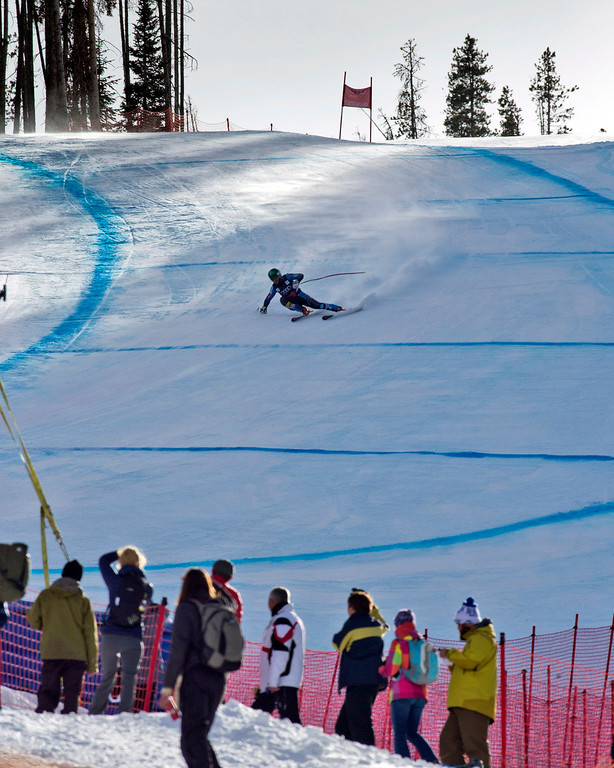 . Travis Ganong, of the United States, speeds down the course during the men\'s World Cup downhill ski race in Beaver Creek, Colo., on Friday, Nov. 30, 2012.  (AP Photo/Nathan Bilow)