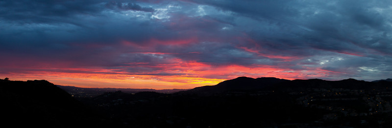 Colorful July sunset over Glendale, California. Six image pano.