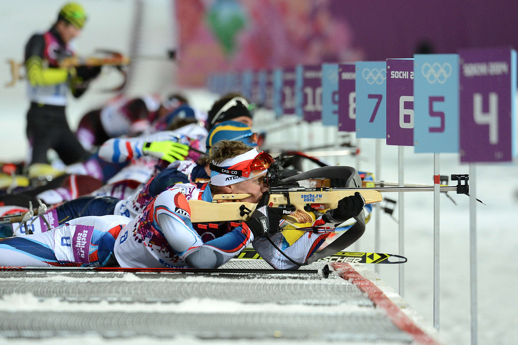 . Czech Republic\'s Ondrej Moravec shoots at the range as he competes to win silver in the Men\'s Biathlon 12,5 km Pursuit at the Laura Cross-Country Ski and Biathlon Center during the Sochi Winter Olympics on February 10, 2014 in Rosa Khutor near Sochi.   KIRILL KUDRYAVTSEV/AFP/Getty Images