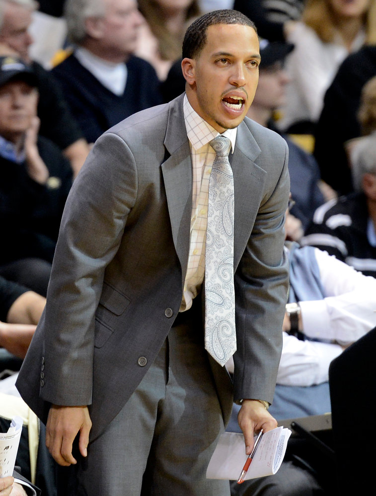 . University of Colorado assistant coach Rodney Billups yells to his team during a game against Stanford on Thursday, Jan. 24, at the Coors Event Center on the CU campus in Boulder. Jeremy Papasso/ Camera