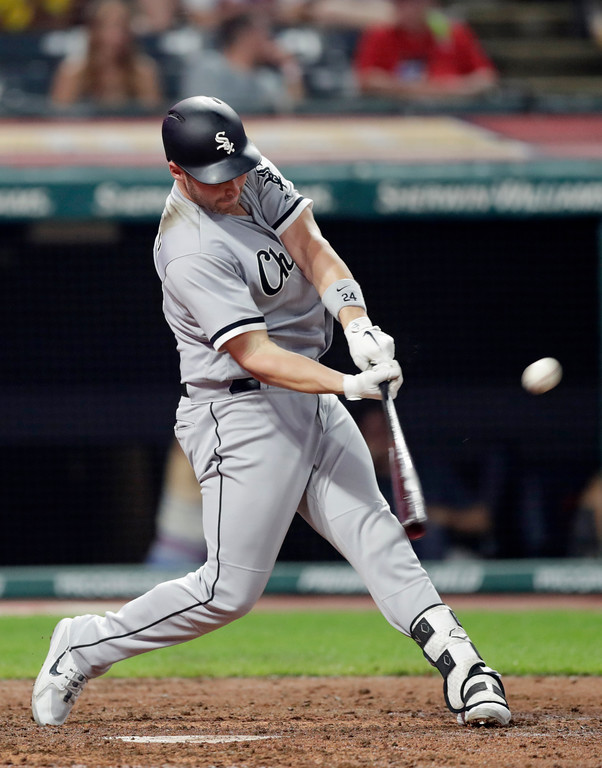 . Chicago White Sox\'s Matt Davidson hits a solo home run off Cleveland Indians relief pitcher Dan Otero in the ninth inning of a baseball game, Monday, June 18, 2018, in Cleveland. The Indians won 6-2. (AP Photo/Tony Dejak)