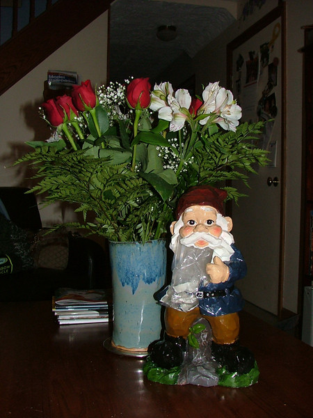 Waldo and My Birthday Flowers from Kevin