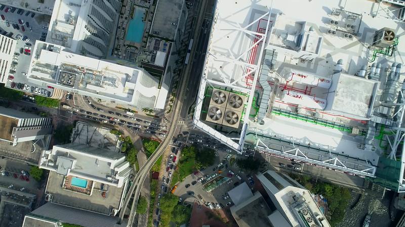 Aerial video city flyover drone 4k