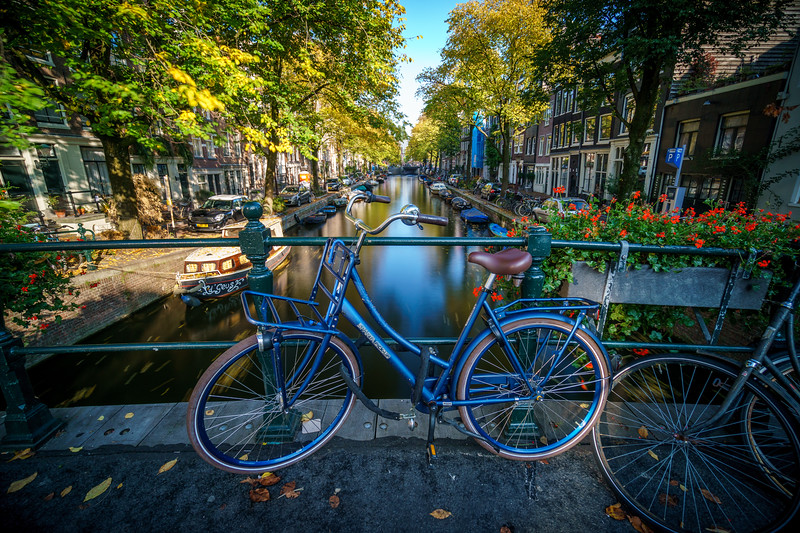 Picturesque canal of Amsterdam.