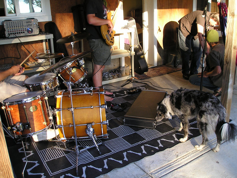 Boost was not at all intimidated by anything about the band. She was quite intimidated by the Evil Floor inside the house at first, but actually got over it by the end of the afternoon.